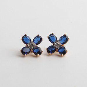 Tory Burch Blue Crystal Deep-Grain Earrings
